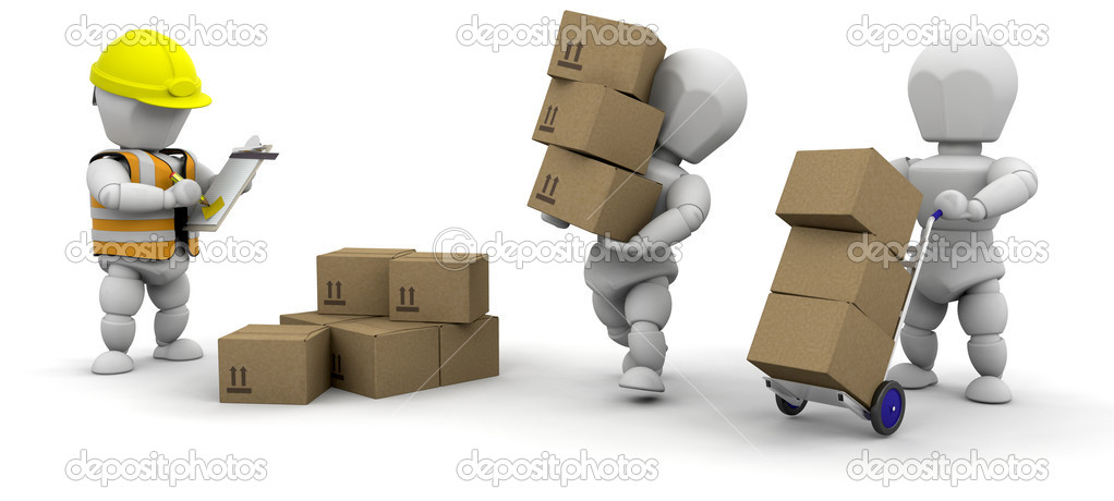 3D men handling materials isolated over white